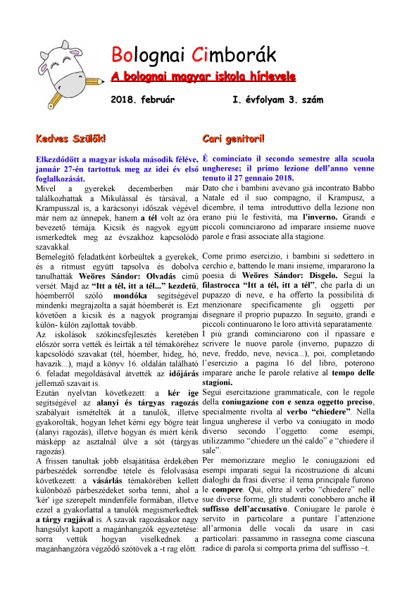 BOCI Magyar Iskola Notiziario - Hirlevel 02 2018