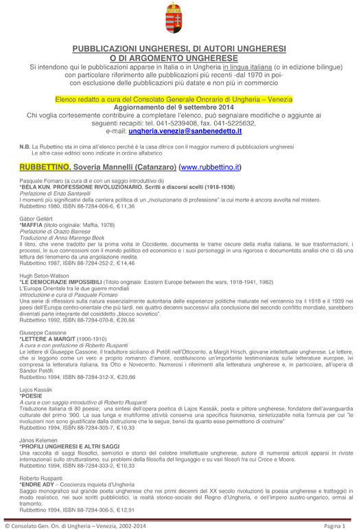 PUBBLICAZIONI UNGHERESI IN ITALIA