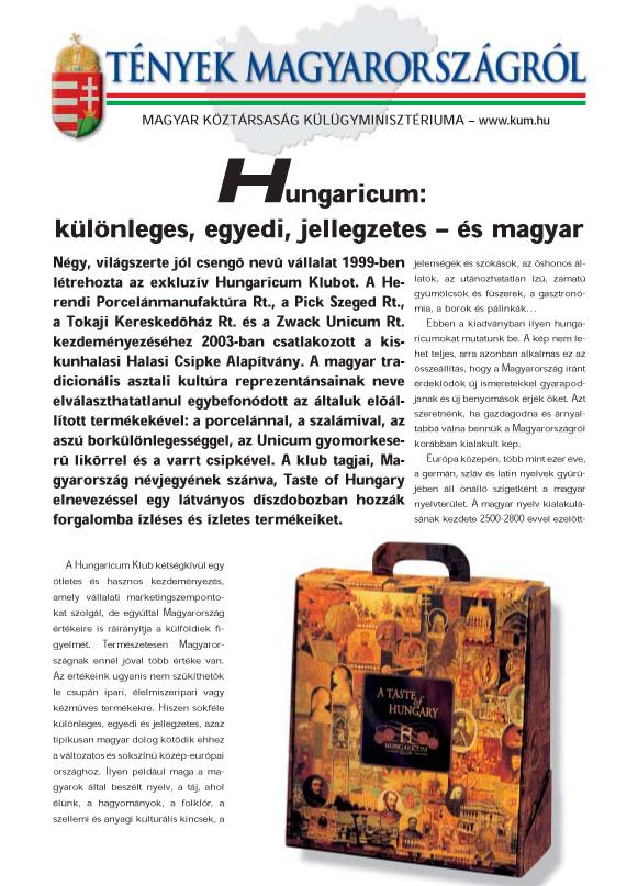 HUNGARICUM - L'UNGHERIA E' VICINA