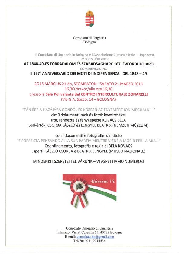 invito Commemorazione Festa Nazionale Ungherese