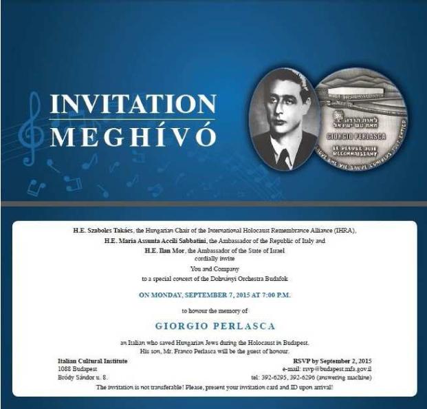 invito - Concerto per G. Perlasca a Budapest