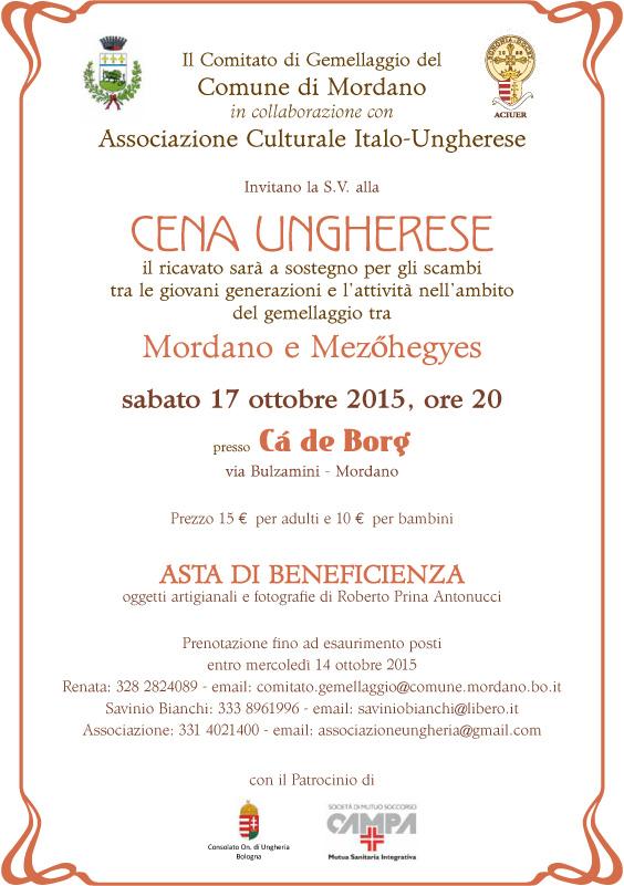 Invito cena Ungherese 10 2015 - Cà de Borg Mordano