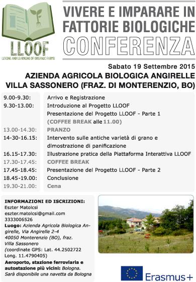 CONFERENZA SU VIVERE E IMPARARE IN FATTORIE BIOLOGICHE 19 settembre 2015