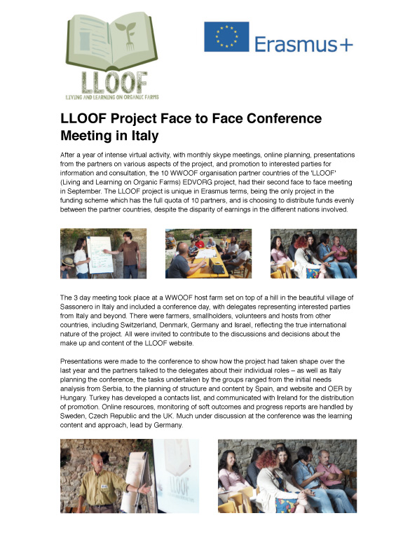 LLOOF Project Face to Face Conference Meeting in Italy