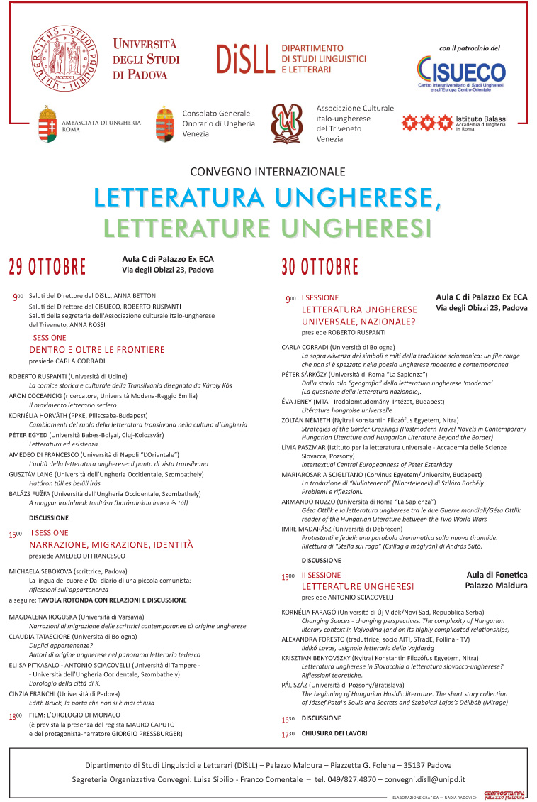 Convegno internazionale Letteratura ungherese, Letterature ungheresi - 29/30 ottobre 2015