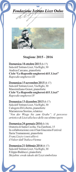 LISZT – stagione musicale 2015/2016