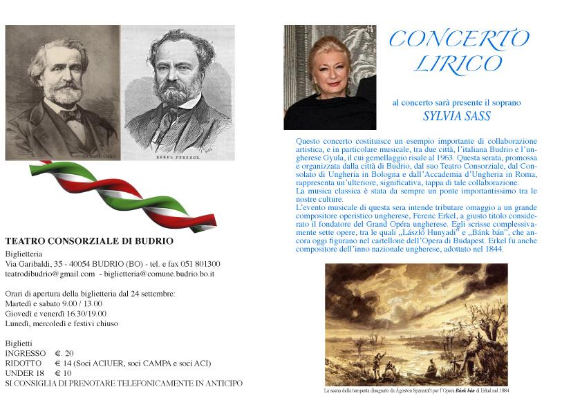 CONCERTO SASS SYLVIA A BUDRIO