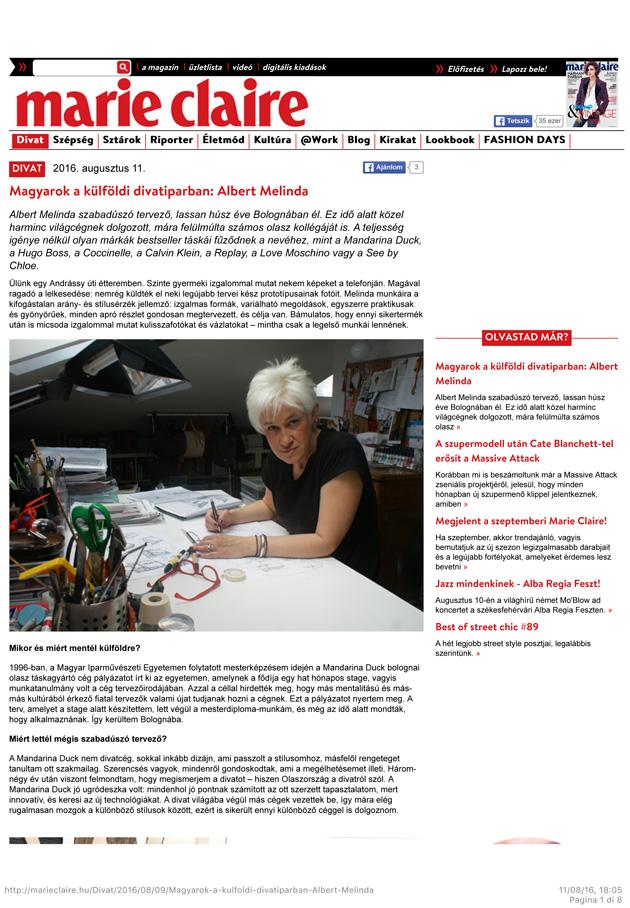 Magyarok a külföldi divatiparban: Albert Melinda - Marieclaire
