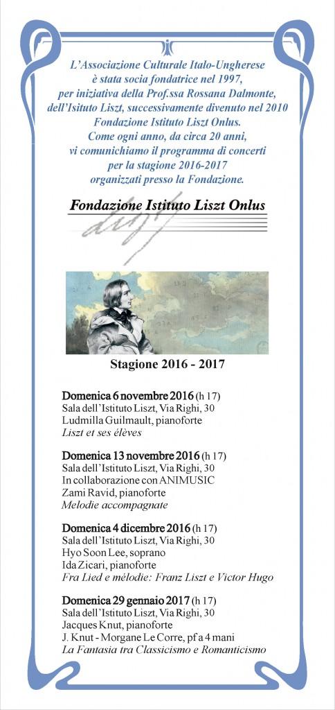 Brochure Liszt Stagione 2016-2017
